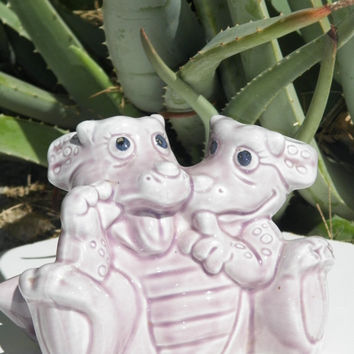 Vintage Dinosaur Planter. Purple. Lilac. Ceramic. Triceratops. Planter. Flower Pot. Home Decor. Kid Decor.