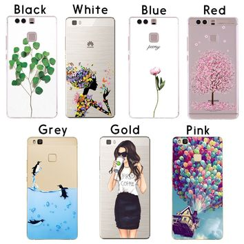 Fashion Plants Modern Girls Patterns Soft Sillicon TPU Back Cases Cover For Huawei P8 P9 P10 P8 Lite 2017 P8 P9 P10 Lite Phone c