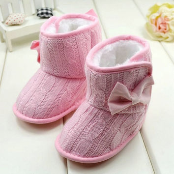 Toddler Girls Knit Woolen Snow Boots Bowknot Infant Soft Sole Baby Fleece Shoes = 1958188100