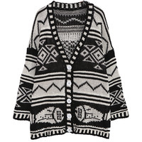 V Neck Long Sleeve Totem Print Knitted Sweater Cardigan