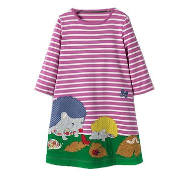Princess Dress Baby Girls Dresses with Animal Appliques Cotton Casual Tunic Children Dress Kids Clothes