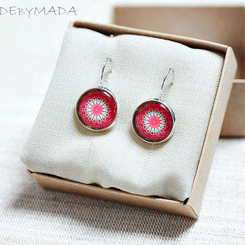 Pink and Red Leverback earrings Manadalas Bright colors Delicate Jewelry Spring summer trend, gift for her from MADEbyMADA