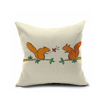 Lovely Romantic Cartoons Animal Pattern Print Cushion Cover [6451679110]