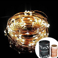 Divine LEDs [Gorgeous String Lights] Copper Wire Starry String Light, Soothing Decor, Elegant Rope Light Suitable for Christmas, Weddings, Parties Waterproof (33' 100 LEDs)