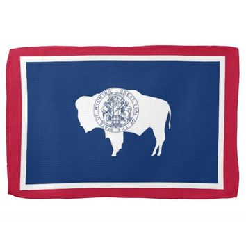 Kitchen towel with Flag of Wyoming, U.S.A.