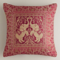 Red Elephant Sari Pillow