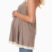 Mocha Crochet Trim Maternity Tank Top