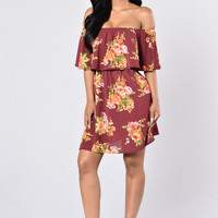 Give Love A Chance Dress - Burgundy Floral