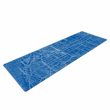"""Catherine Holcombe """"Los Angeles Streets"""" Blue Map Yoga Mat"""