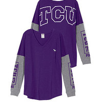 Texas Christian University Long Sleeve V-neck Tee - PINK - Victoria's Secret