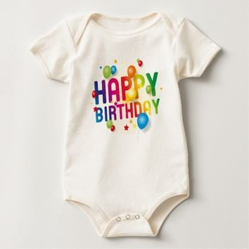 Happy Birthday Balloons Rainbow Baby Bodysuit
