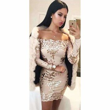 Cold Shoulder Sequined Bodycon Dress