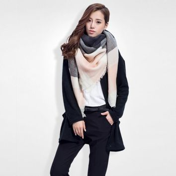 Brand Scarf Women Fashion Scarves  Blankets Soft Cashmere Winter Scarf warm Square Plaid Shawl 009