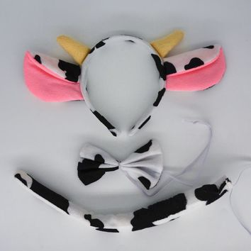 Kids Adults Milk Dairy Cattle Cow Animal Ears Headband Bow Tie Tail Cosplay Costume Props Party Favors Christmas Halloween