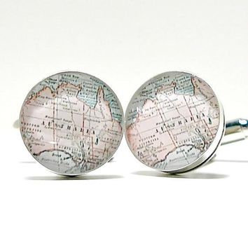Australia Antique Map Cufflinks