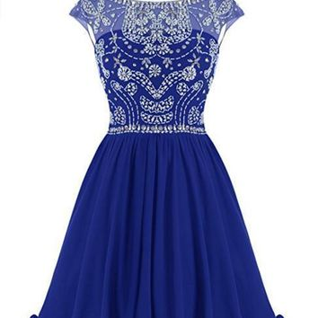 Women's Short Homecoming Party Ball Dress Sparkling Bateau Prom Evening Gowns