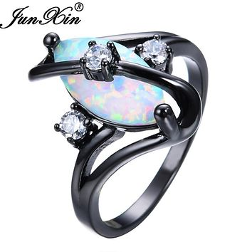 JUNXIN Gorgeous Rainbow Fire Opal Rings For Women Men Black Gold Filled Wedding Party Engagement Promise Ring Christmas Gift