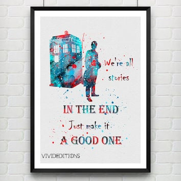 Quote from Tardis Doctor Who Poster, Watercolor Art Print, Children's Wall Art, Minimalist Home Decor, Not Framed, Buy 2 Get 1 Free! [No 17]