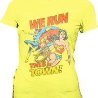 Junk Food Batwoman Supergirl Wonder Woman We Run This Town Yellow Juniors T-shirt Tee