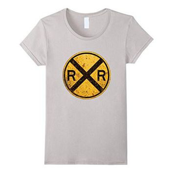 Railroad Crossing Sign T Shirt 1935 Train Warning Symbol Tee