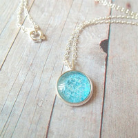 T U R Q U O I S E - Turquoise Teal Blue Glitter Sparkle Photo Glass Cab Circle Silver Plated Charm Pendant Necklace