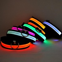 USB Rechargeable LED Dog Cat Collar Nylon Glow Flashing Light Up Night Safety Luminous Puppy Collars Pet Supplies HG99