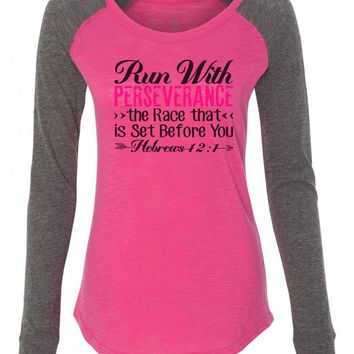 "Womens ""Run With Perseverance The Race That Is Set Before You"" Long Sleeve Elbow Patch Contrast Shirt"