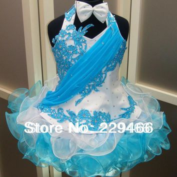 Promotion price ! High quality Royal Blue and White Applique Lace Beaded girls Christmas Party flower girl Net dresses wzy206