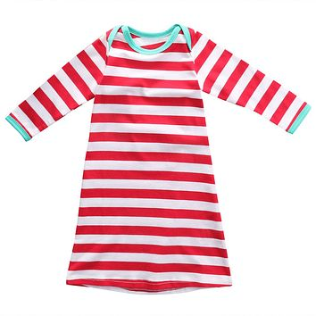 Christmas Toddler Kids Baby Girls Long Sleeve Striped Bodysuit Nightgown Nightdress Gown