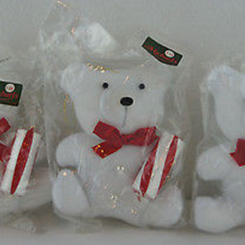 1950's White Plush Teddy Bear & Candy Cane Collection 3 Christmas Ornaments