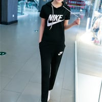 """NIKE"" Fashion Casual Embroidery Stitching Letter Short Sleeve Hooded Set Two-Piece Sportswear"
