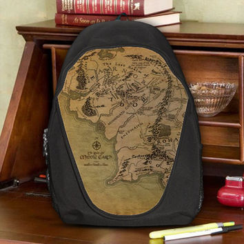 Map of Middle Earth Realm Land LOTR Teen Kids Canvas School Backpack Bag Rucksack