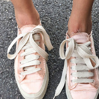 Champagne Parson Suede-Trimmed Satin Sneakers