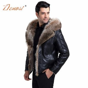 2018-19 Fashion real fur hooded jacket coat men winter leather jacket motorcycle style natural raccoon fur one piece jacket