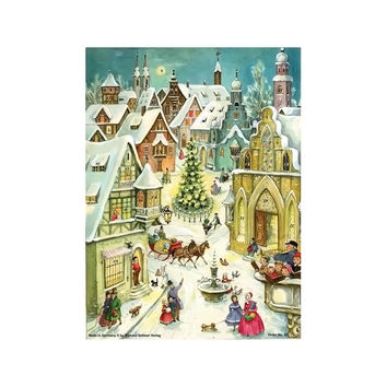 Sellmer Advent Christmas Small Nativity Street Calendar Card 11.5H x 8.25W x .1D