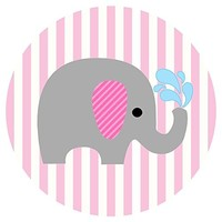 Baby Girl Elephant Stickers Label Party Favors for Baby Shower - Pink Stripes - Set of 50
