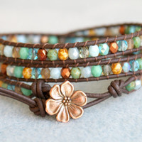 Turquoise mix Bohemian beaded leather wrap bracelet, 3x Wrap, Chan Luu Style, grey, blue, green, brown, picasso, flower, OOAK