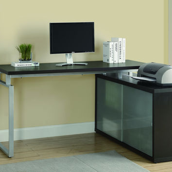 "Cappuccino Hollow-Core ""L"" Shaped Desk With Frosted Glass"