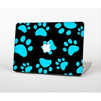 The Black & Turquoise Paw Print Skin Set for the Apple MacBook Air 13""