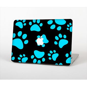 The Black & Turquoise Paw Print Skin Set for the Apple MacBook Pro 15""