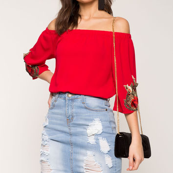 Floral Applique Off Shoulder Top