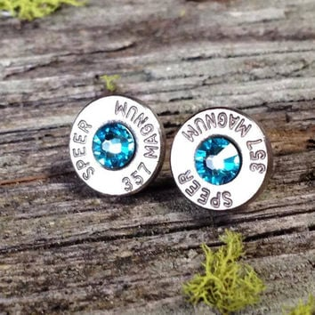 Aquamarine Bullet Bling Stud Earrings