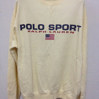 Vintage Polo Sport Ralph Lauren Snow Beach P Wings Bear Sweater Size XL
