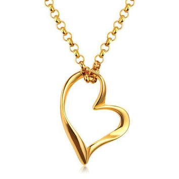 2017 New Products Fashion Chain Necklace Titanium Steel Heart Puzzle Pendant Lover Necklaces For Women/girl
