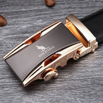 Famous Belt Men 100% Good Quality Cowskin Genuine Luxury Leather Belts ,Strap Male Metal Automatic Buckle