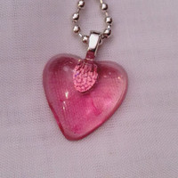 Tiny Resin Valentine Heart Necklace.  Pink Resin Heart.  Valentine Heart Jewelry.