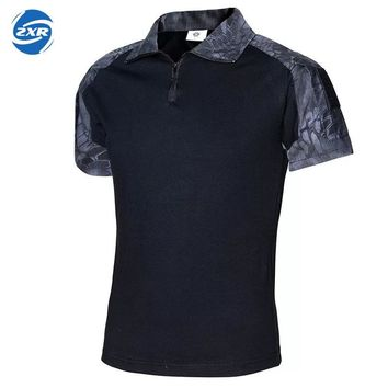 Men Summer Camouflage Tactical  Shirt New Paintball Tactical POLO Shirt Short Sleeve Military Cotton Tee Shirts Hunt Clothes