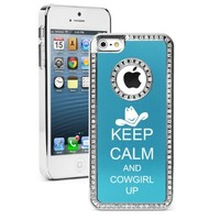 Apple iPhone 5 5S Light Blue 5S718 Rhinestone Crystal Bling Aluminum Plated Hard Case Cover Keep Calm and Cowgirl Up