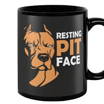 Dog Lover Gifts Resting Pit Face Pet Owner Rescue Gift Funny Pitbull Coffee Mug Tea Cup