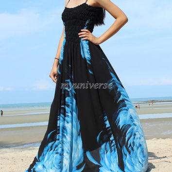 Maxi Dress Wedding Gown Black Bridesmaid Dress Prom Summer Plus Size Floral Evening Dress